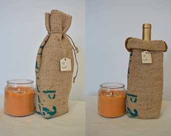 Rustic Burlap Wine Bag Hostess or Host Gift from Recycled Coffee Bean Sack
