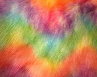 60'' Wide Faux Fur Luxury Shag Rainbow Wave on White Fabric by the Yard- 1 yard