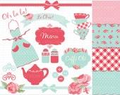 Clipart Combo - Shabby Chic Kitchen Tea Clip Art / Digital Clipart - Instant Download