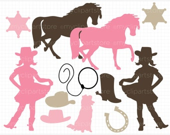 Digital Stamps - Cowgirl Silhouettes, pink cowgirl clipart, wild west clipart, cowgirl silhouette, vector clipart, vector stamps