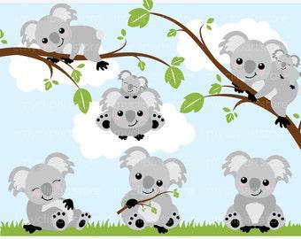 Clipart - Koala Bears - Digital Clip Art (Instant Download)