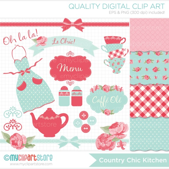 Kitchen Tea Clipart Combo - Shabby Chic Roses, Tea Party, kitchen, vector graphics, digital clip art, digital images, commercial use clipart