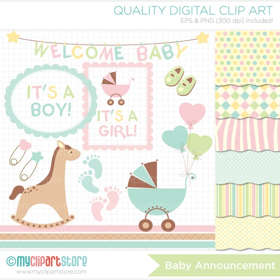 Clipart Combo - Baby Announcement Clipart - Rocking Horse Clip Art / Digital Clipart - Instant Download