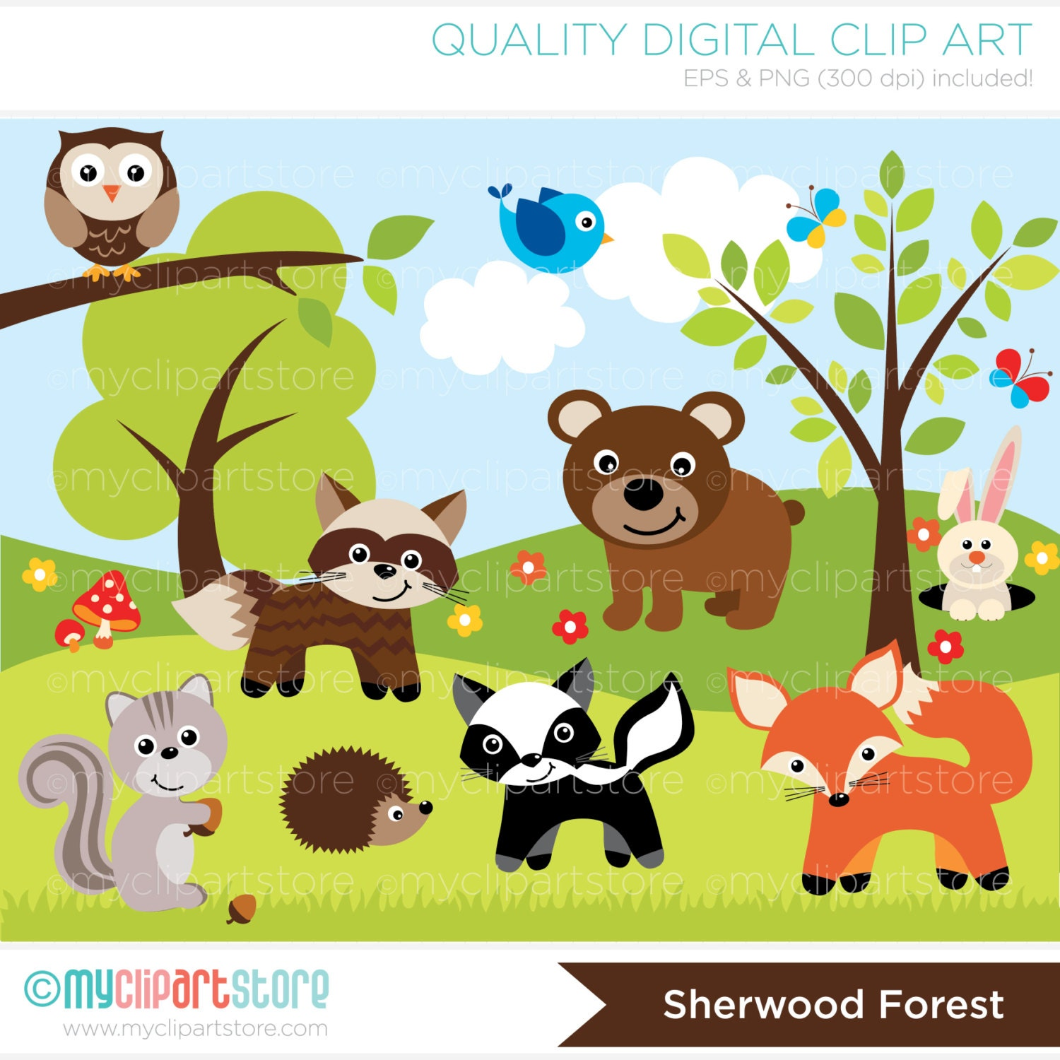 Woodland / Sheerwood Forest Animals Clip Art / by MyClipArtStore
