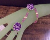Hand Jewelry, Little girl-Big girl Purple and White Rose