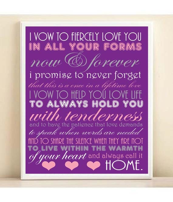 Items Similar To Wedding Vows Subway Art Print 8x10 Typography Quote Poster