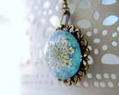Blue Sparkly Real Flower Necklace Vintage Victorian Style Eco Resin Pendant