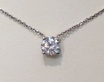 Handmade Diamond Solitaire Necklace in 14K Gold