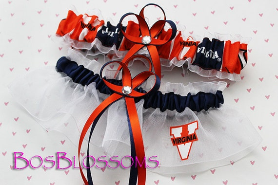 choose charms - University of VIRGINIA CAVALIERS fabric handmade into bridal prom garters - garter set - size xs s m l xl or xxl