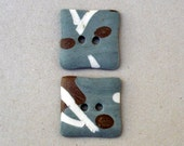 Grey Blue Brown Abstract Art  Buttons, XL.Ceramic Buttons.Sewing Buttons.