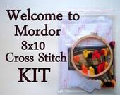 Cross Stitch KIT -- Welcome, simply walk in 8x10, giant evil eye housewarming gift, internet meme, mordor