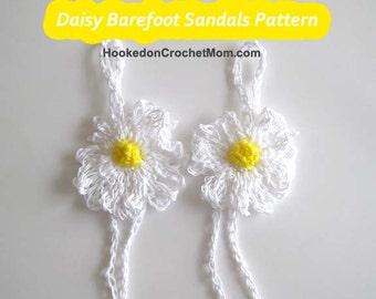 Crochet Barefoot Sandals Pattern Daisy Flower  One Size Fits Tweens, Teens and Women Plus Bonus Dish Wash Cloth Pattern PDF Instant Download