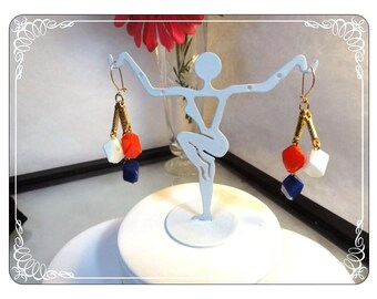 Red White & Blue Dangling Color Block Earrings for Pierced Ears   E3343a-063013000