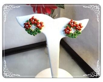 Vintage Christmas Wreath Earrings - Red and Green Enamel w Pointsettias X-masE2236a-063013000