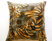 """Autumn Fashion - Velvet Brown Pillow Cover with Black and Cream Tiger Skin Print - 18x18"""" - Gift for Her, for Mom - Ready to Ship Decor"""