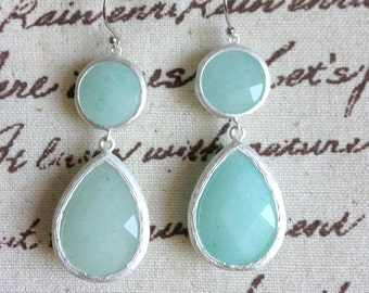 Double Drop Stone Earrings Bridesmaids