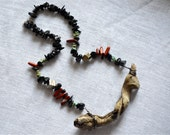 Truly Unique Drift Wood Necklace with Black Stone, Turquoise Magnesite, Red Jasper, and Chalcopyrite