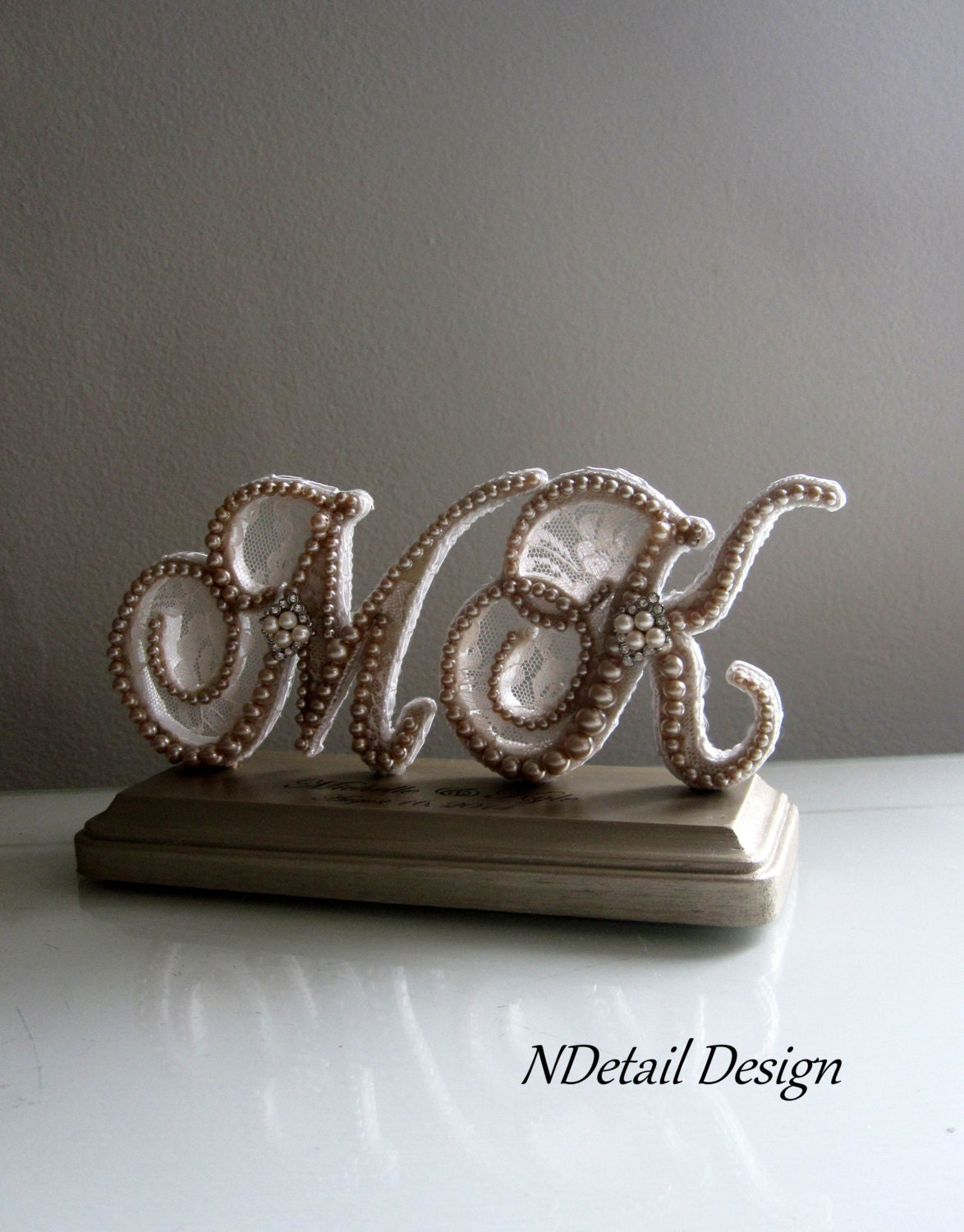 Wedding Cake Topper & Display Two Letter by NDetailDesign