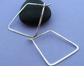 Small geometric hoop earrings - Sterling silver hoops