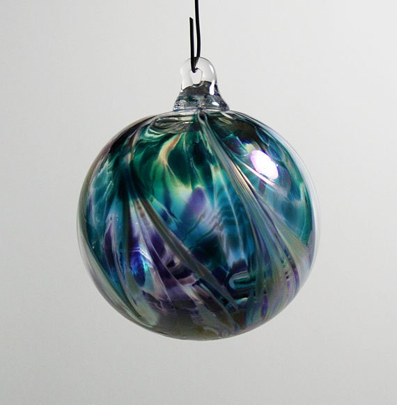 Hand Blown Glass Christmas Ornament - Amethyst and Teal Green with ...