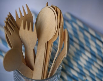 10 Disposable Wooden Spoons