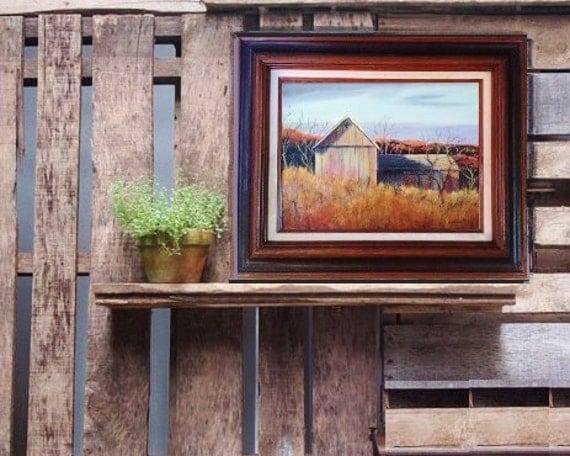 Turner's Barn, Original oil painting by Linda Maravich, 12 x 16 frame included, sunlit barn at dawn, rustic farmhouse art