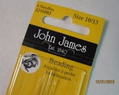 John James Fine Beading Needles, Made in England, Assorted size Needles -  Available in Single Pkgs and in Multi-Packs
