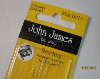 John James Fine Beading Needles, Made in England, Assorted size Needles -  Pkgs (4 needles) Sold Individually from the 'Options' menu