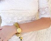 Turkish Silk Golden Yellow Bracelet - Gold  Plated,Feminine, Handmade, OOAK, Christmas,