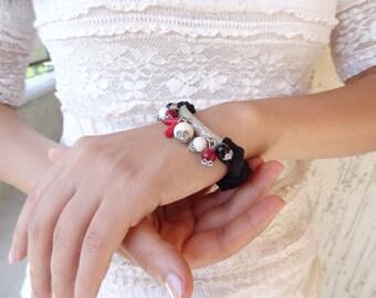 Black, Red, White Fashion Bracelet, Onyx, Coral Bracelet-Turkish Silk Bracelet-Silver Plated Bracelet