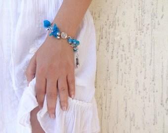 Dark Turquoise Silk Bracelet, Ottoman Kaftan Bracelet , Gem Stones Bracelet,, Silver Plated Bracelet