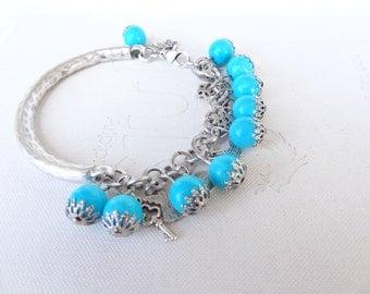 Turquoise Bracelet, Charm Bracelet, Silver  Bracelet, Stones Bracelet,