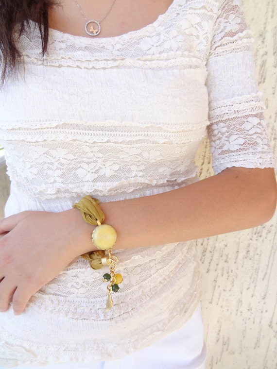 Turkish Silk Bracelet, Golden Yellow Pendant Bracelet, Charm Bracelet, Stone Jewelry, Gold Bracelet,Elegant,Feminine, Handmade, Gift For Her