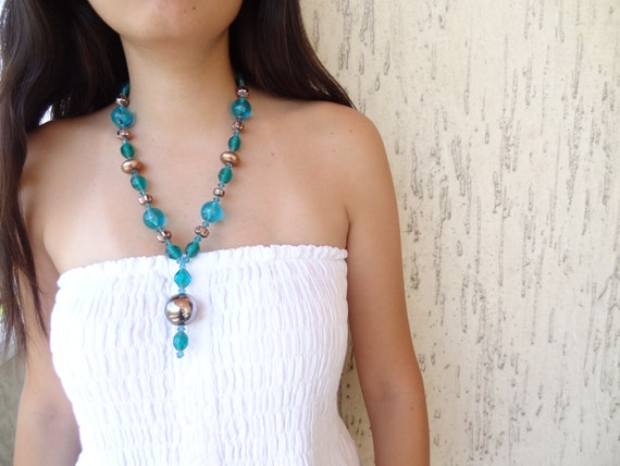Turquoise blue, emerald green beads. Swarovski crystal necklace
