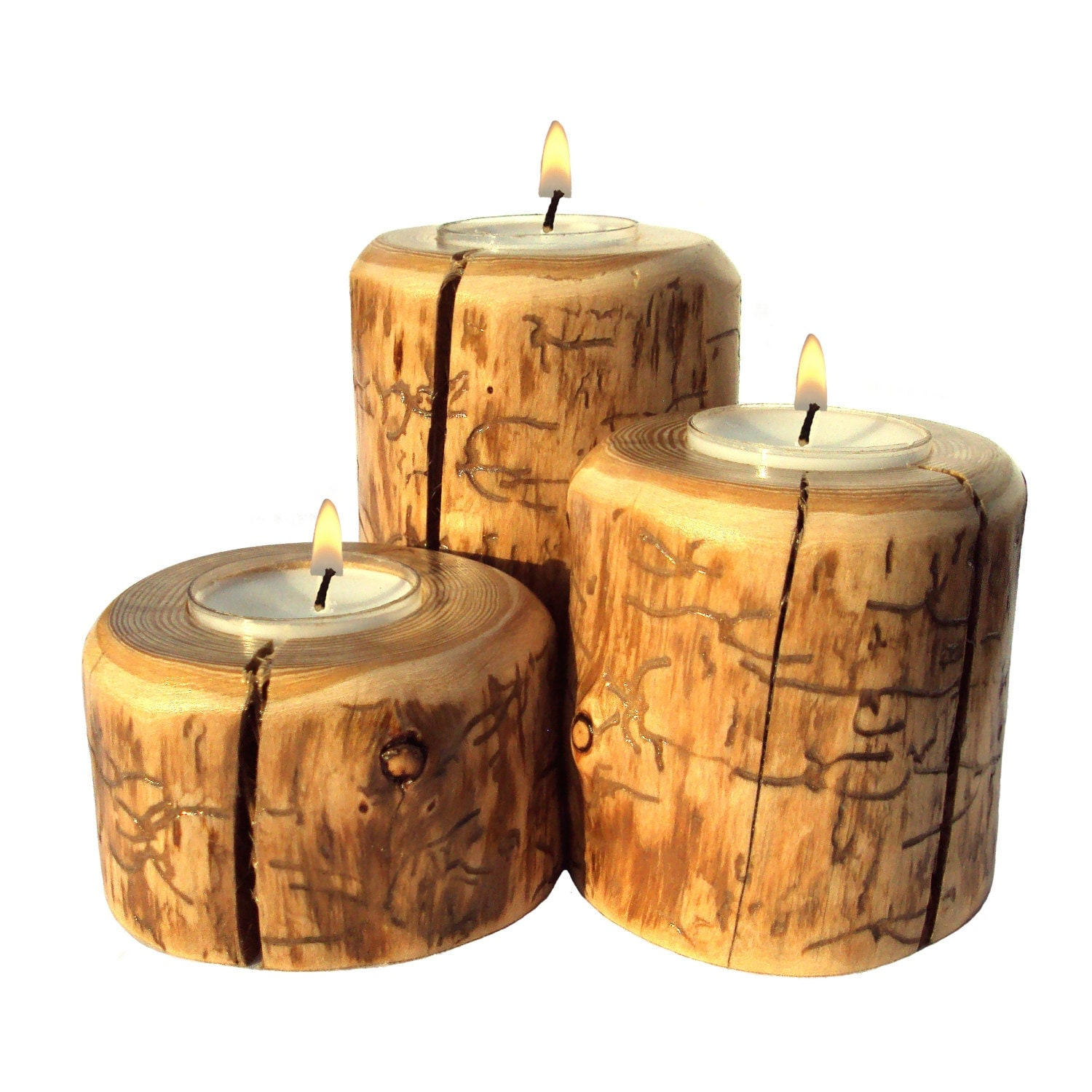 Rustic Wooden Tea Light Holder Free Shipping: Red Pine Candle Set Log Candle Holder Rustic Candle Set Red