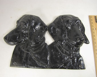Vintage Molded Metal of Two Dachshund Heads for Hanging