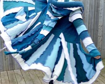 BLUE COAT Merino Dragon Sweater Coat Wool Fairy Lambswool Sweater Dress Dream Coat Recycled Upcycled Boho Chic