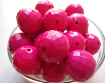 Dark Pink Chunky Necklace Bead, 10 pcs, 24mm, Faceted Beads, Gumball Beads, Bubblegum Bead