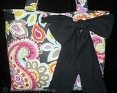 Colorful Paisley & Black Canvas Bag Purse Tote, handmade shoulder bag with Bow