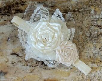 Ivory lace flower headband, Vintage inspired, flower headband