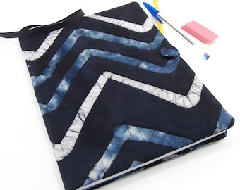 Composition Notebook Cover, Quilted Fabric Journal - Teal Blue and Silver Gray Chevrons on Black Batik