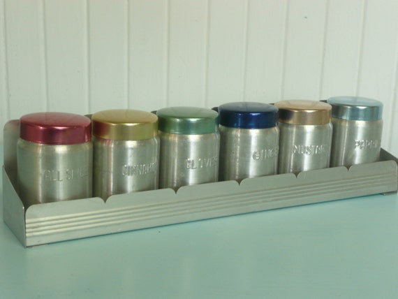 Rare vintage set of six aluminum spice container tins and for Retro kitchen set of 6 spice tins