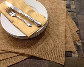 Burlap Placemats - set of 4 - Party Entertaining Holiday Placemat set - Easter - Passover - Holiday