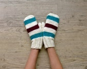 Winter striped knit gloves - PauliszkaKnits