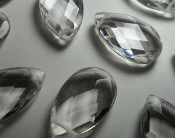 Large Crystal Quartz Faceted Pear Briolette Beads  24mm- 25mm