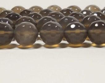 Smokey Quartz Chalcedony Faceted Ball Beads 10mm
