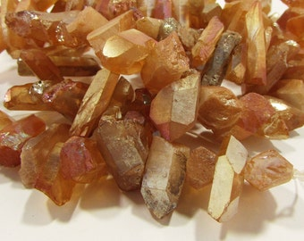 Metallic Peachy Orange Pink Titanium Coated Quartz Short Point Chip Nugget Dagger Beads 10mm - 25mm
