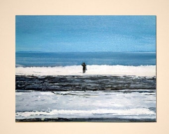Surfer at Staithes - Print of Original Acrylic Painting by Dave Smith