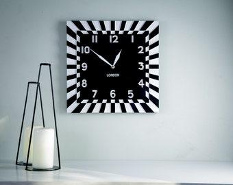 Wall clock Quadrat square vintage retro