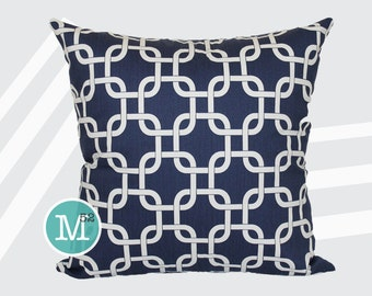 Navy Blue Gotcha Pillow Cover - 20 x 20 and More Sizes - Zipper Closure